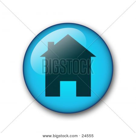 aqua web home button for web design poster