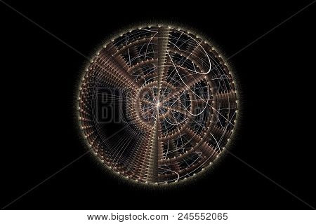 Fractal In Gold Tones. Space Background. Stars, Radiation Spectral Image In Outer Space.
