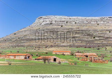 Old Farms In The Landscape Of Castilla Y Leon Near Atienza, Spain