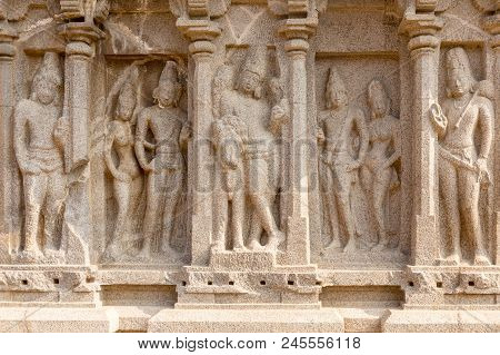 The Five Rathas, Detail On Arjuna Ratha,, Mahabalipuram, Tamil Nadu, India