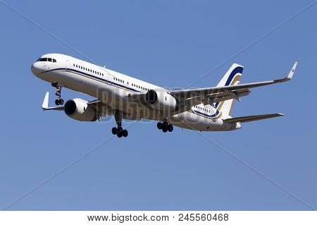 Borispol, Ukraine - May 26, 2018: Sx-rfa Gainjet Aviation Boeing 757-23n(wl) Aircraft On The Blue Sk