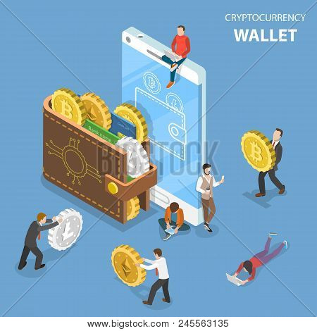 Flat Isometric Vector Concept Of Cryptocurrency Wallet, Blockchain, Cryptocurrency Mining, Crypto Ex