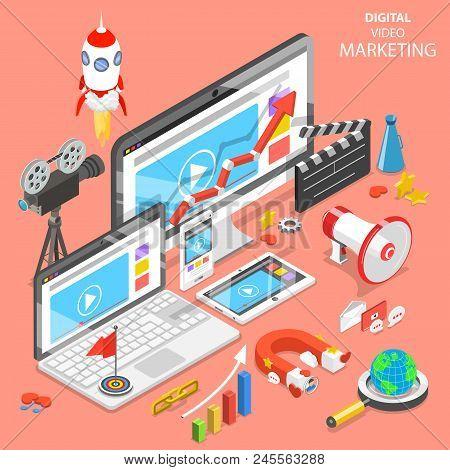 Flat Isometric Vector Concept Of Digital Video Marketing, Advertising, Social Media, Seo.