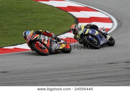 SEPANG, MALAYSIA - OCTOBER 22: Moto2 rider Raffaele de Rossa (35) competes with other riders at the qualifying race of the Malaysian Motorcycle GP 2011 on October 22, 2011 at Sepang, Malaysia.