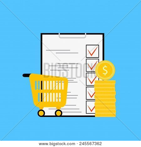 Product Budget And List. Planning Supermarket Check, Shop, Sale, Retail Purchase Checklist And Money