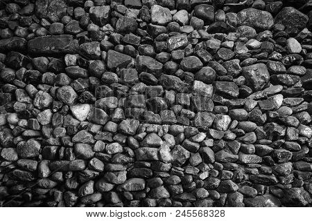 Very Black Stone Wall For The Background