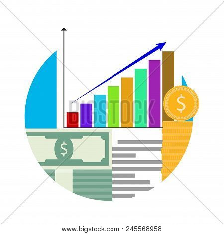 Increase In Financial Capital. Vector Finance Capital Money, Management Investment Stock