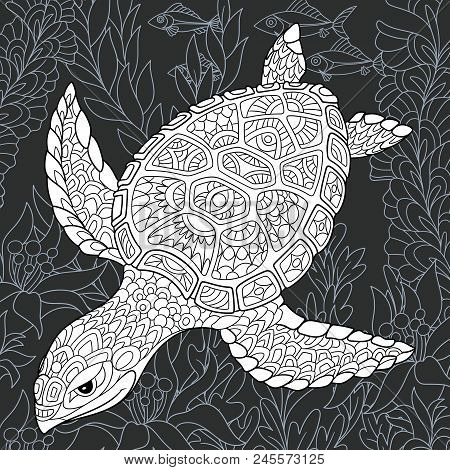 Turtle Drawn In Line Art Style. Ocean Background In Black And White Colors On Chalkboard. Coloring B