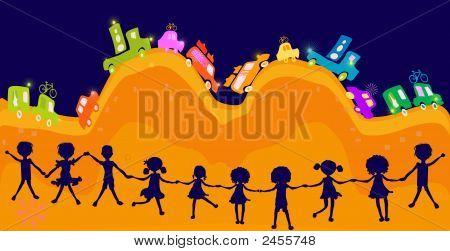 Caravan, Silhouette Of Group Of Kids Playing