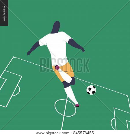 European Football, Soccer Player - Flat Vector Illustration Of A Young Man Wearing European Football