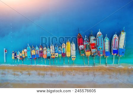 Aerial View Of Colorful Boats In Mediterranean Sea In Oludeniz, Turkey. Beautiful Summer Landscape W
