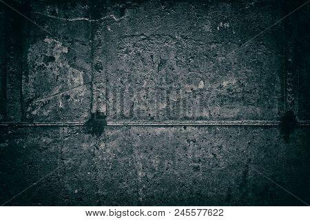 Dark Rough Concrete Wall Texture. Urban Gloomy Grunge Background