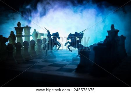 Medieval Battle Scene With Cavalry And Infantry On Chessboard. Chess Board Game Concept Of Business