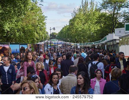 Madrid Book Fair In The Parque Del Buen Retiro Park.