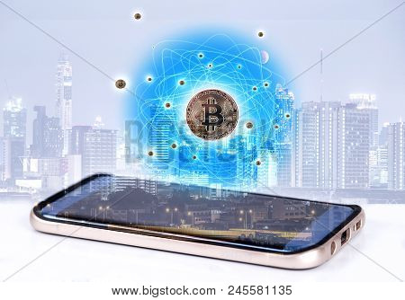 Smartphone With Bitcoin And Network Connection ,  Bitcoin Is Electronic Currency Internet Finance