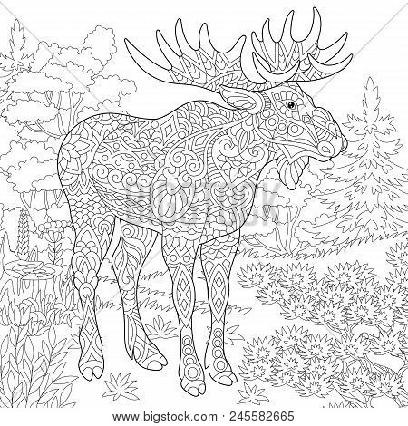 Moose, Woodland Animal. Forest Landscape. Coloring Page. Colouring Picture. Adult Coloring Book Idea