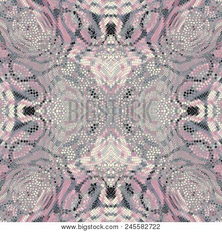 Seamless Background Pattern. Symmetric Mosaic Art Pattern Of Different Tile Textures. Art Nouveau St