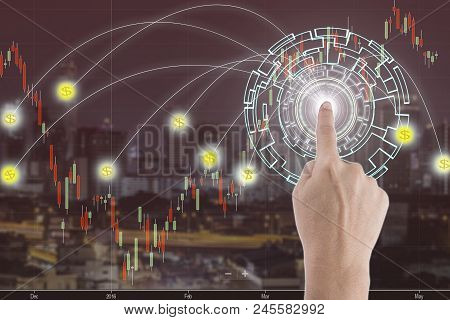 Double Exposure Abstract Image Of The Hand Point To The Digital Business Of Communication Network, S