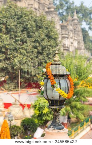 Flower Decorated Light, Bodhgaya, Bihar, India, Asia