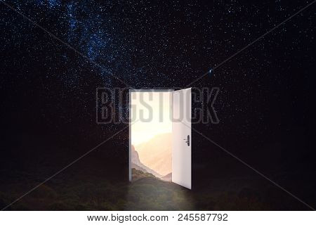 Open Door On Abstract Starry Sky Background. Future And Dream Concept. 3d Rendering