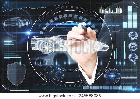 Hand Using Creative Digital Car Interface Background. Artificial Intelligence, Transport And Future