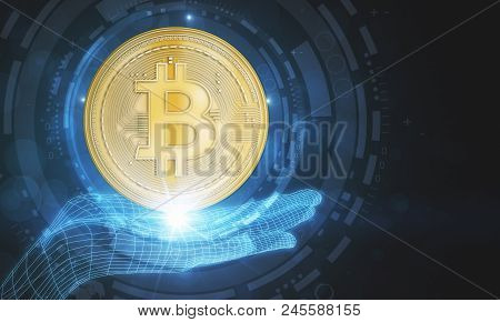 Digital Hand Holding Creative Golden Bitcoin. Cryptocurrency And Finance Concept. 3d Rendering