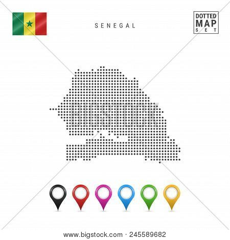 Dotted Map of Senegal. Simple Silhouette of Senegal. The National Flag of Senegal. Set of Multicolored Map Markers. Vector Illustration Isolated on White Background. poster