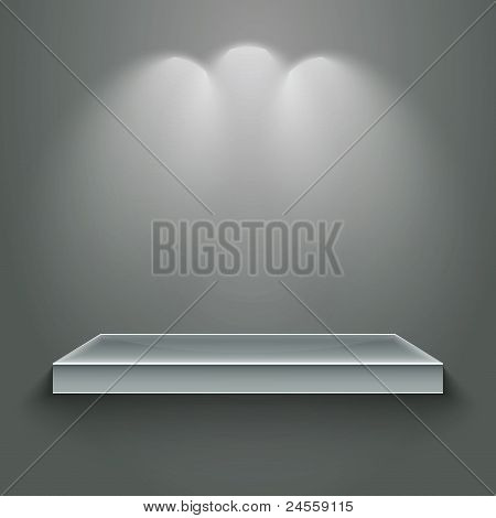 3d isolated empty shelf