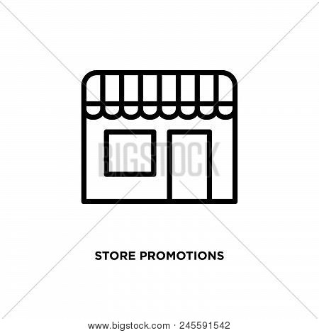Store Promotions Vector Icon On White Background. Store Promotions Modern Icon For Graphic And Web D