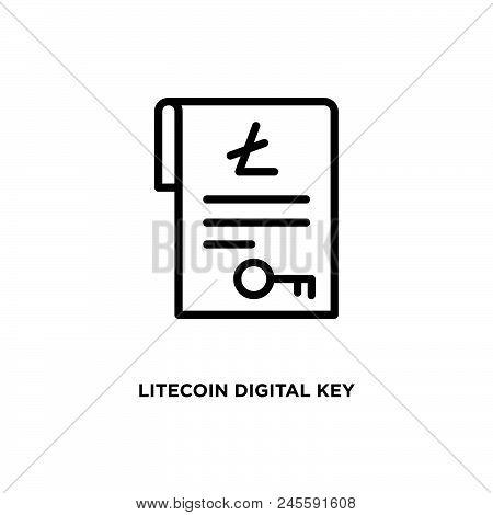 Litecoin Digital Key Vector Icon On White Background. Litecoin Digital Key Modern Icon For Graphic A