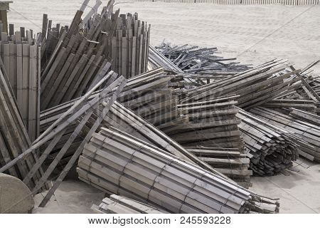 This Is An Image Taken Of Old Beach Fencing