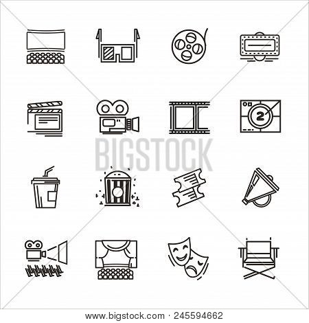 Set Of Cinema And Theater Icons. Set Of Cinema And Theater Icons In A Linear Style. Collection Of Ci