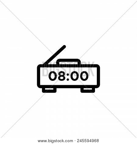 Digital Alarm Clock Vector Icon On White Background. Digital Alarm Clock Modern Icon For Graphic And