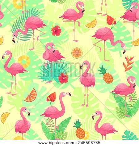 Exotic Pink Flamingos, Tropical Plants And Jungle Flowers Monstera Palm Leaves. Tropic Cute Rosy Fla