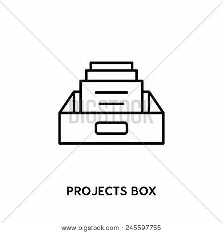 Projects Box Vector Icon On White Background. Projects Box Modern Icon For Graphic And Web Design. P