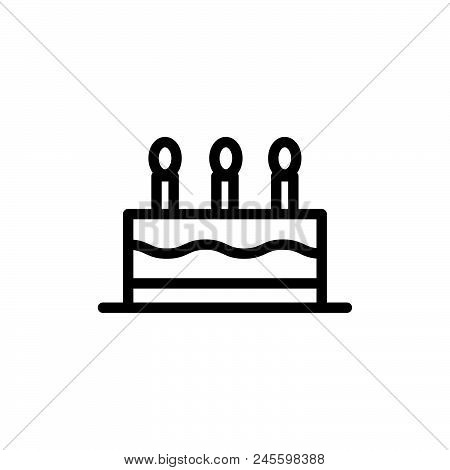 Birthday Cake Vector Icon On White Background. Birthday Cake Modern Icon For Graphic And Web Design.