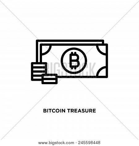 Bitcoin Treasure Vector Icon On White Background. Bitcoin Treasure Modern Icon For Graphic And Web D