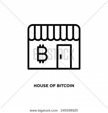 House Of Bitcoin Vector Icon On White Background. House Of Bitcoin Modern Icon For Graphic And Web D
