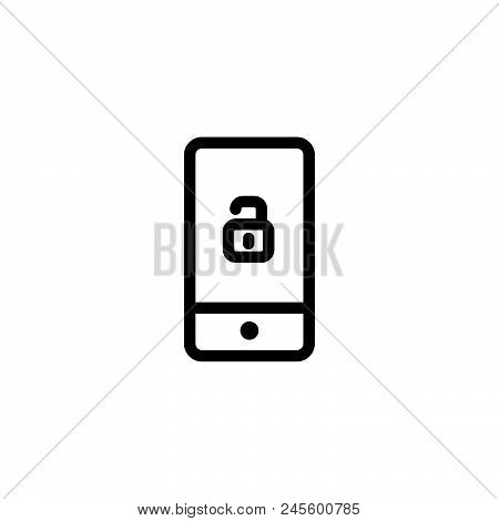 Smartphone Lock Vector Icon On White Background. Smartphone Lock Modern Icon For Graphic And Web Des