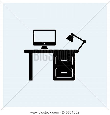 Workplace Icon, Working Desk Icon. Workplace Modern Icon For Graphic And Web Design. Work Space Icon