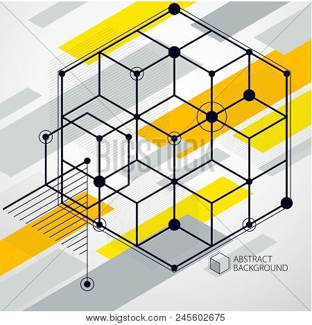 Engineering Technological Yellow Vector 3d Backdrop Made With Cubes And Lines. Illustration Of Engin