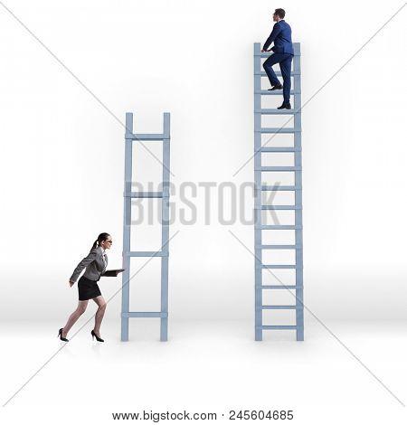 Concept of inequal career opportunities between man woman poster