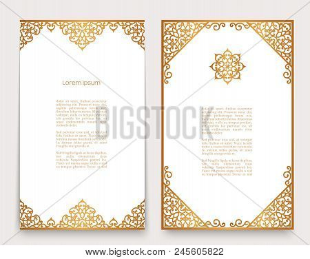 Vintage Gold Frames With Swirly Border Pattern, Decorative Scrollwork Ornaments, Golden Embellishmen