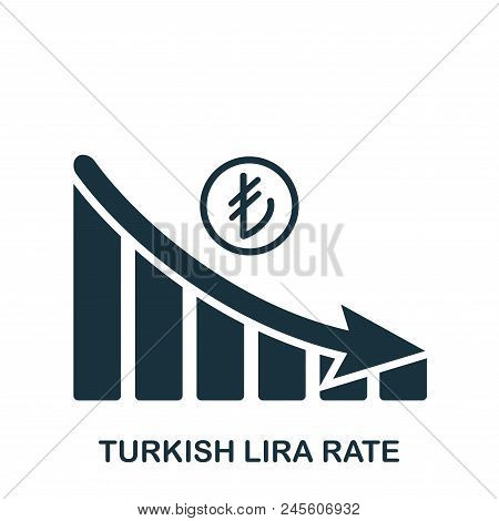 Turkish Lira Rate Decrease Graphic Icon. Mobile App, Printing, Web Site Icon. Simple Element Sing. M