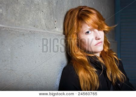 Scared And Lonely, Moody Portrait Of A Beautiful Fashoinable Young Redhead Girl.