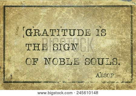 Gratitude Is The Sign Of Noble Souls - Famous Ancient Greek Story Teller Aesop Quote Printed On Grun
