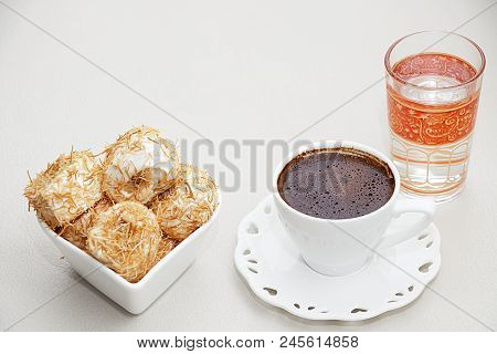 Turkish Coffee With Shredded Dough Baked In Syrup Topped With Crushed Nuts Turkish Delight And Cup O