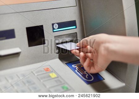 Someone Takes Off Money From Outdoor Bank Terminal, Inserts Plastic Credit Card In Atm Machine, Goin
