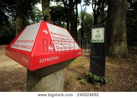 Arnhem, The Netherlands - June 16, 2018: Red Dutch Anwb Bicycle Signpost For Bike Paths And A Green