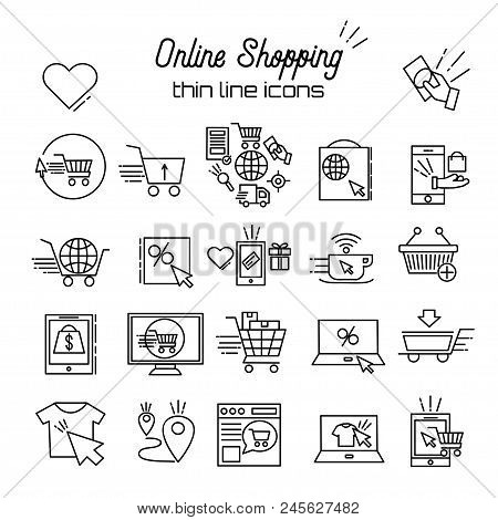 Online Shopping Vector Line Icons. E-commerce Pictogram Symbol Outline Thin Icon Discount, Shopping